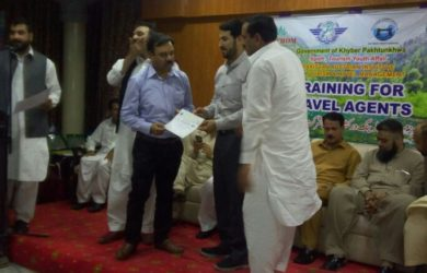 Cheif Guests in Training for Travel Agents by PATITHOM (Pak Austria Institute for Tourism & Hospitality). Awarded Certificates to Agents at Hazar Division.